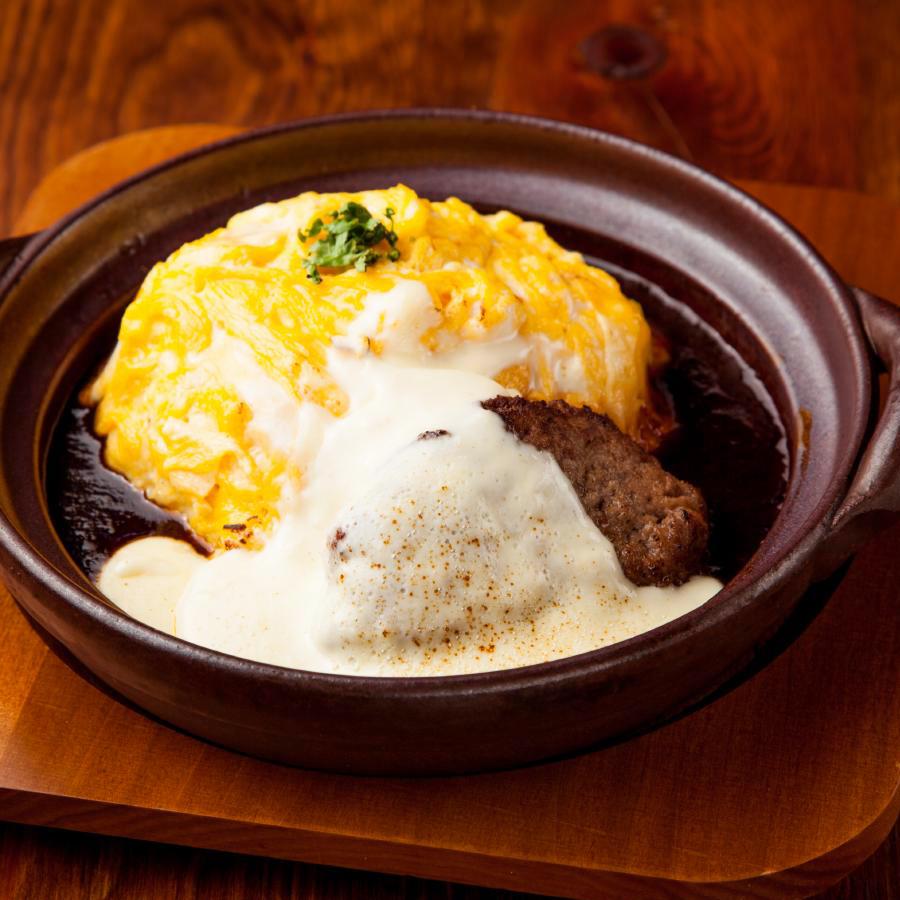 チーズハンバーグのドリア風オムライス