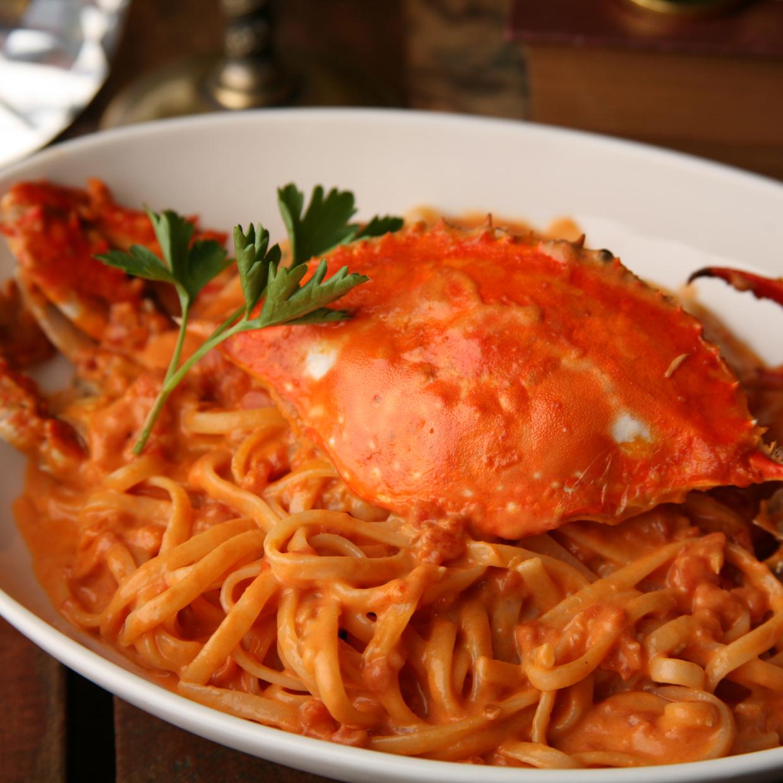 渡り蟹のトマトクリーム パスタ