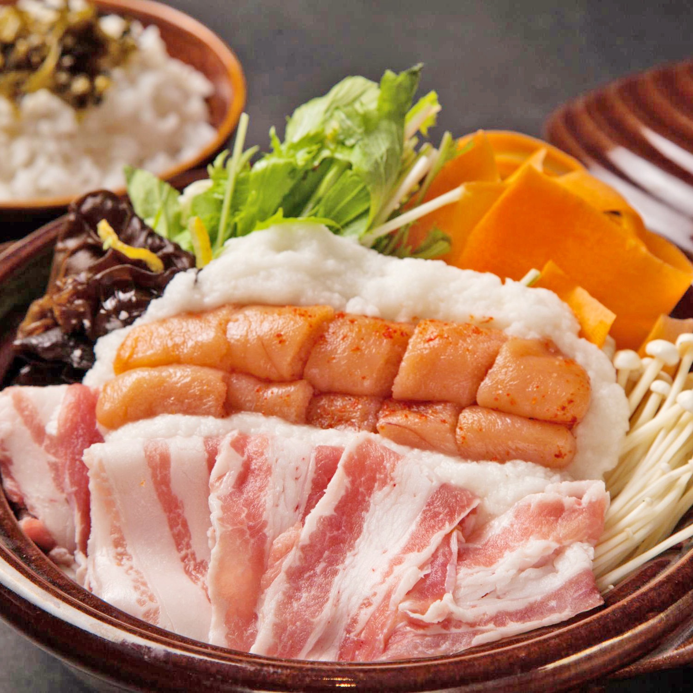 名物 博多「あごおとし」明太子と岩中豚の雪見鍋