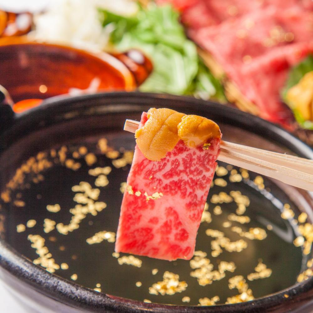 佐賀牛ロース肉と極上雲丹の黄金しゃぶしゃぶ  ~大分産「龍の卵」と濃厚自家製ダレで~