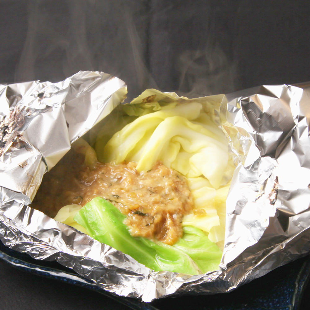 キャベツと葱味噌のホイル焼き