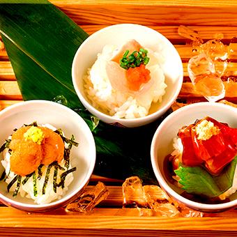 三種のおちょこ寿司(カワハギ・カツオ・ウニ)