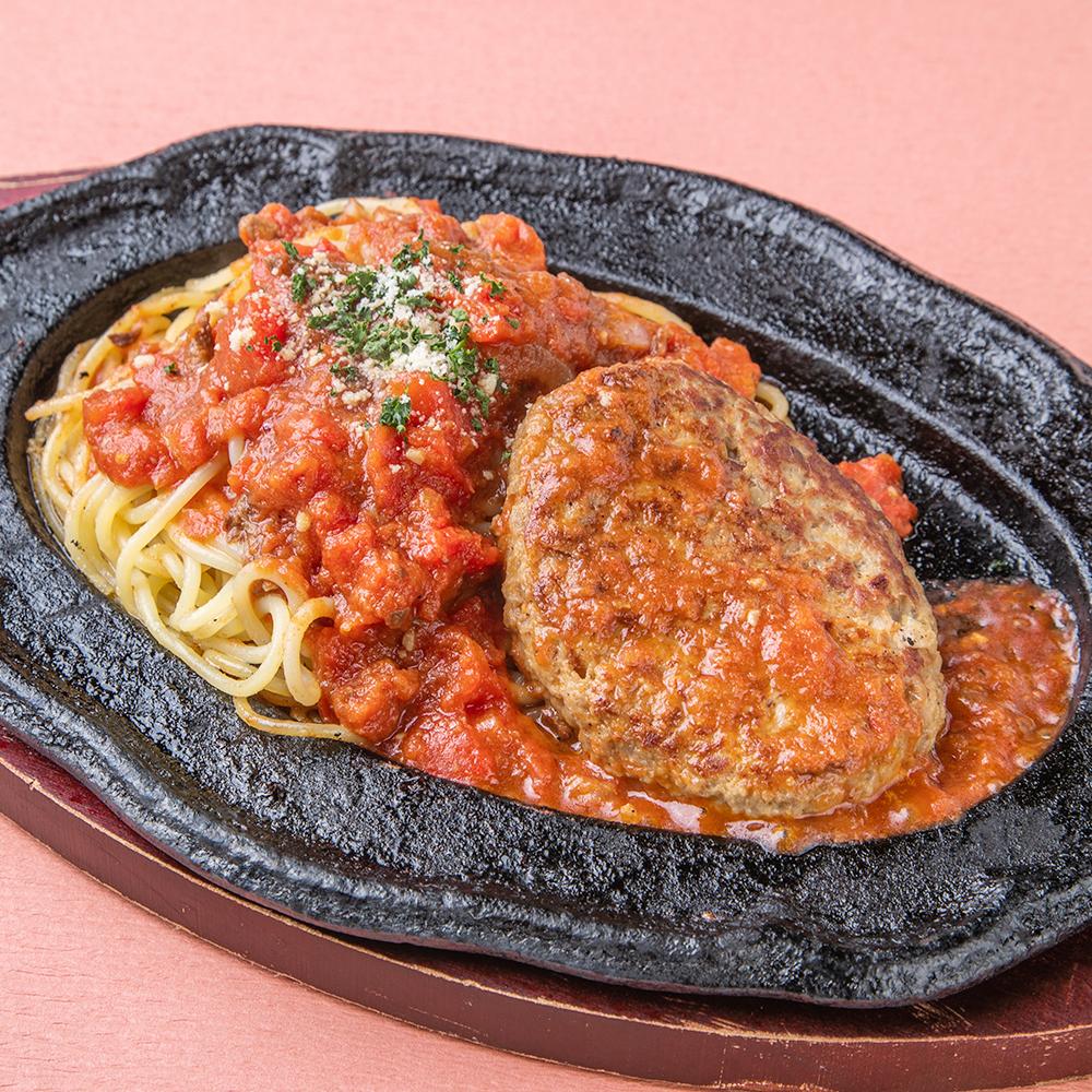 鉄板ハンバーグとコクうまミートスパゲティ