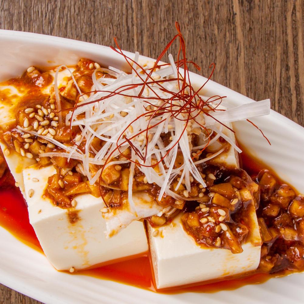 鶏そぼろと胡瓜のピリ辛麻辣豆腐