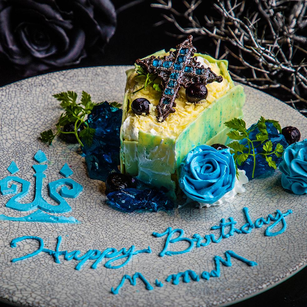 白亜に佇む青薔薇と煌めく古城の亡霊 ブルーベリーとホワイトチョコレートのショートケーキ