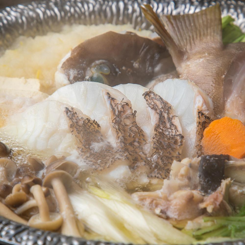 五島列島産天然クエと鮟鱇の柚子みぞれ鍋