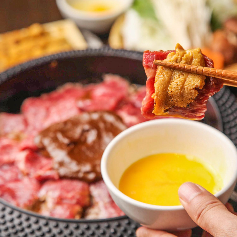 特選牛と雲丹のうにく鍋 ~すき焼き風~