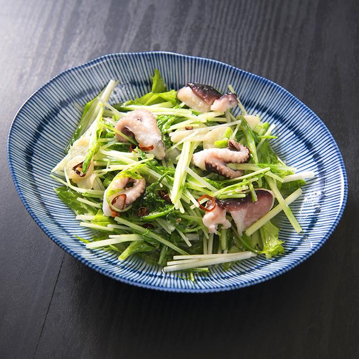 水菜とタコのガーリック炒め