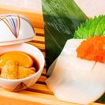 うに醤油で食べる スルメイカの素麺