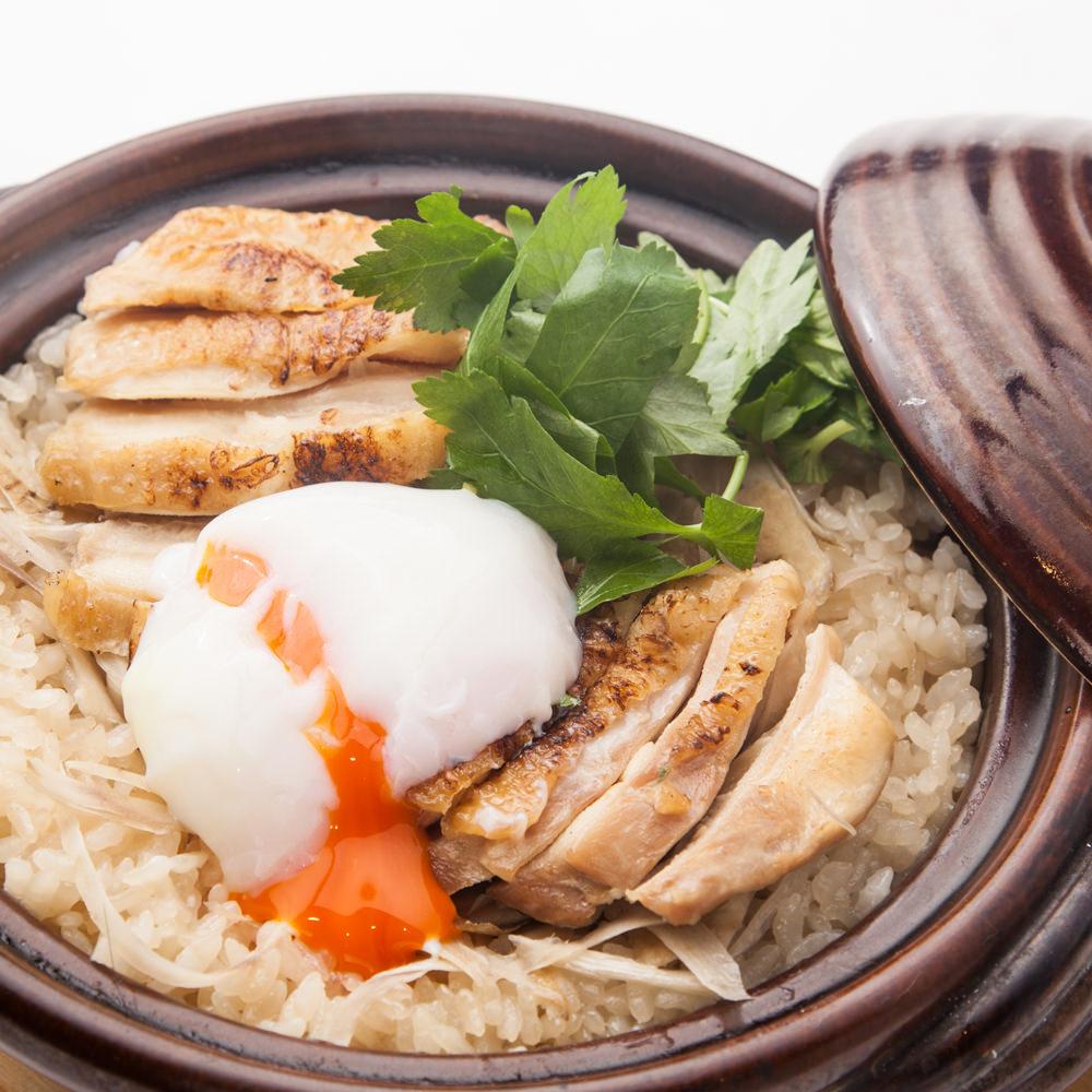 茨城県産つくば鶏もも肉と牛蒡の土鍋めし ~温泉玉子~