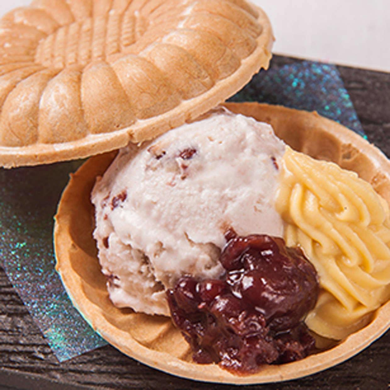 安納芋と小豆の最中アイス