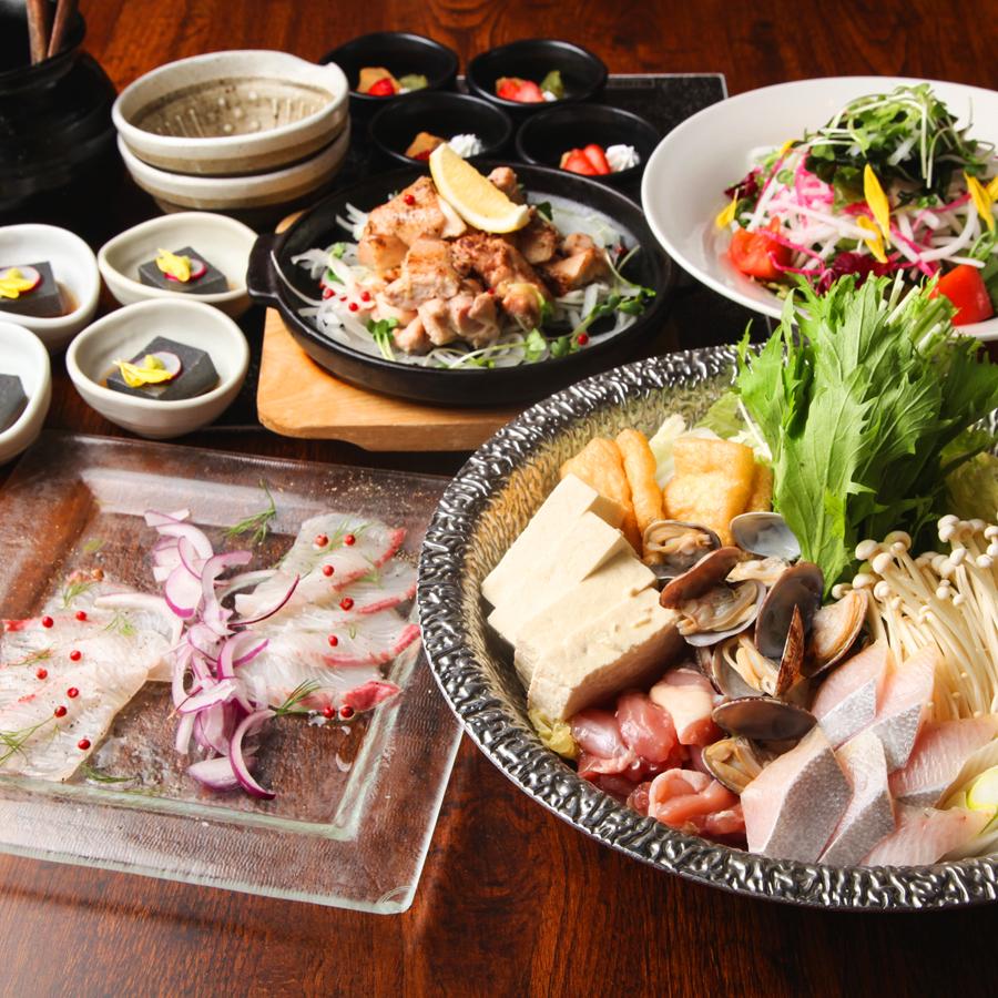 [2.5時間飲み放題] 真鯛と雲丹の濃厚鯛出汁しゃぶ・豪華お造り八寸コース7品