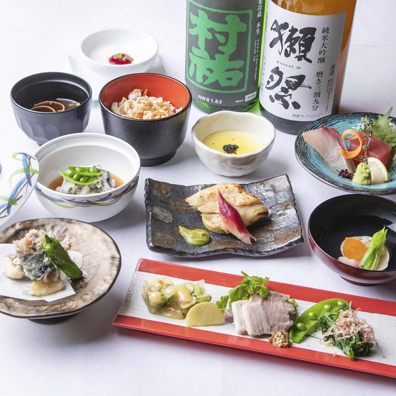 [3時間飲み放題] ・氷温熟成豚と旬菜旬魚の特選会席8品