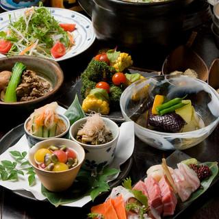 [2時間飲み放題] 鮮魚5種盛り・黒毛和牛・雲丹いくら羽釜など贅沢コース8品