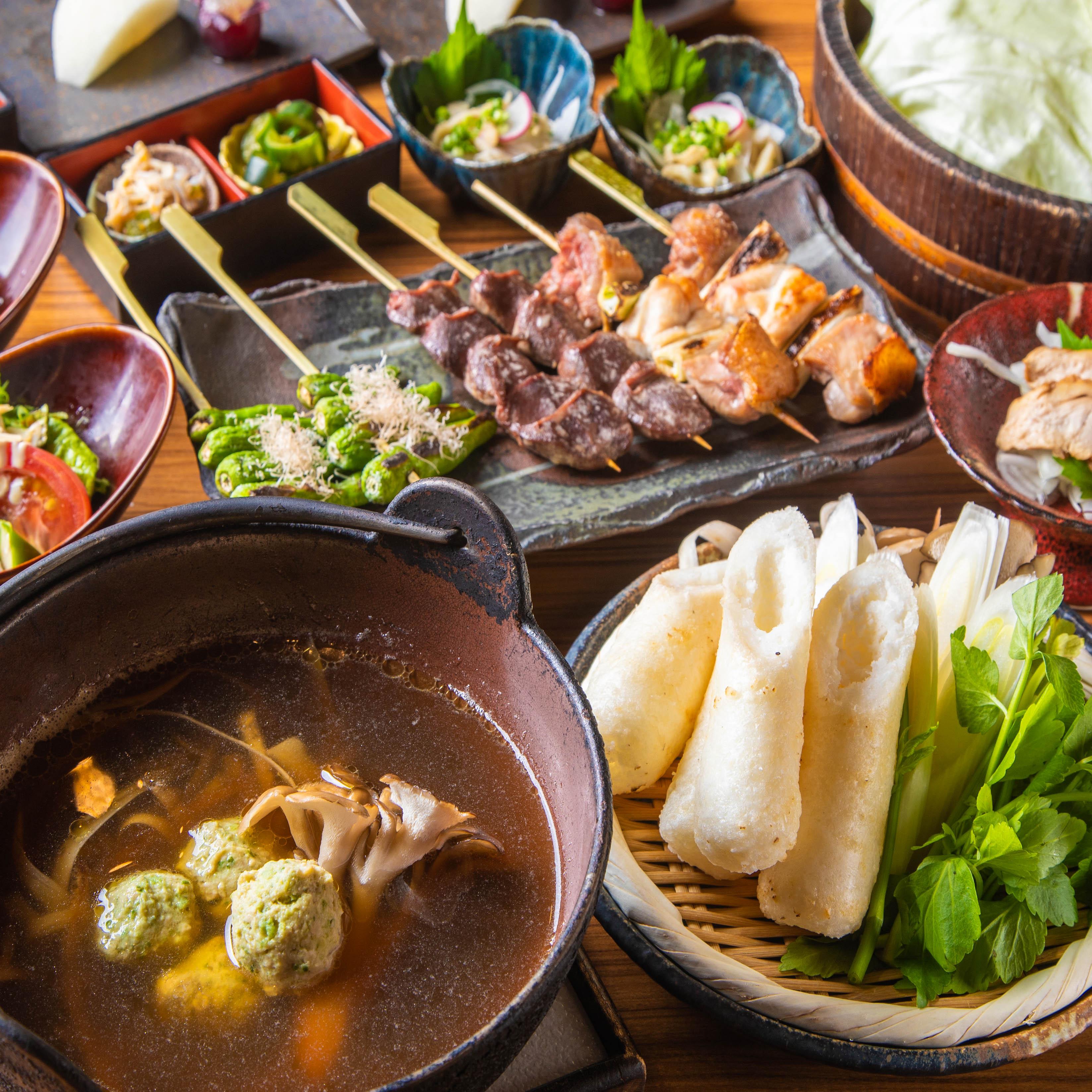[お料理のみ] ≪お料理のみ≫比内地鶏と秋田名物きりたんぽ鍋コース 10品