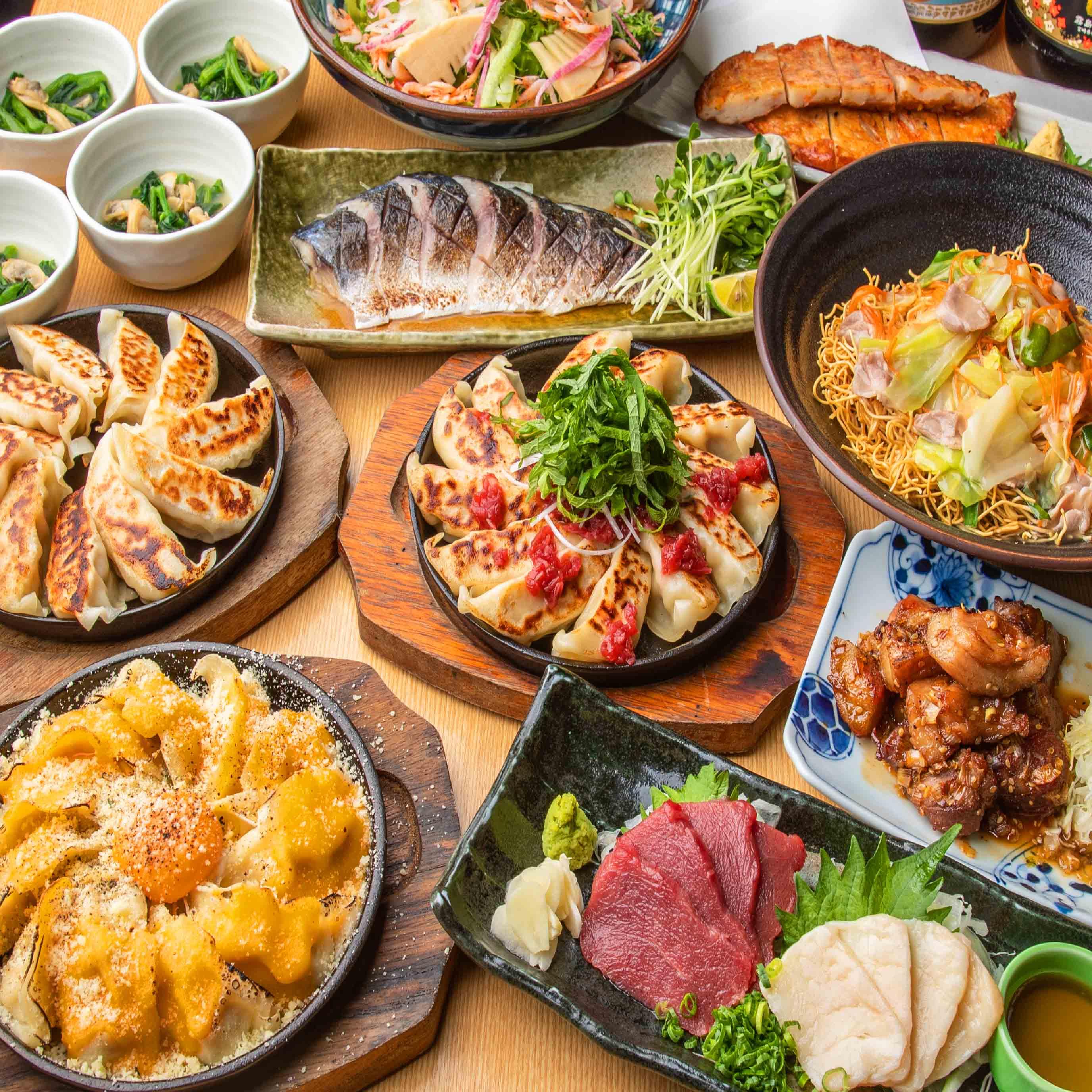 [曜日限定] [2.5時間飲み放題] 3種の焼き餃子と九州名物コース9品
