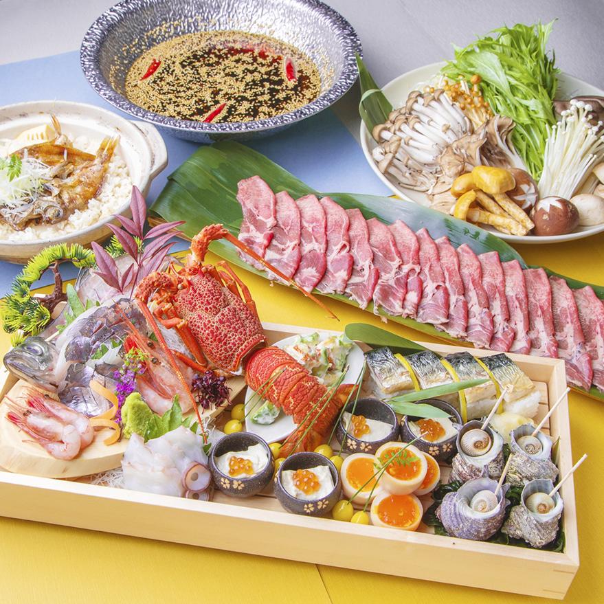 [3時間最新飲み放題] ずわい蟹と鮭の粕味噌鍋・牛タン鉄板焼きコース12品