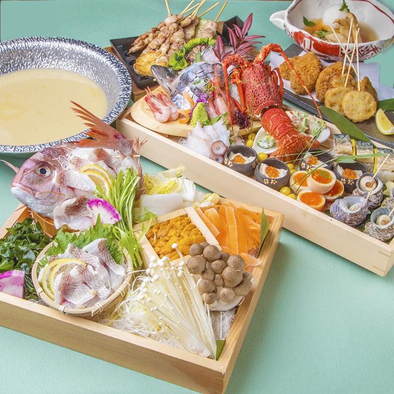 [3時間最新飲み放題] 金目鯛と鮟鱇の塩寄せ鍋・豪華八寸コース11品