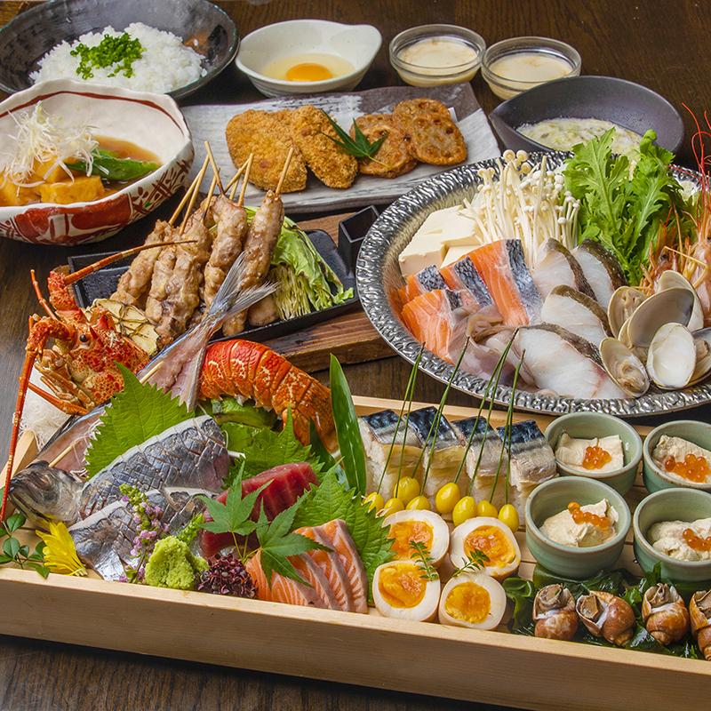 [3時間飲み放題] 特撰皿鉢盛り合わせ・金目鯛と鮟鱇の塩寄せ鍋コース7品