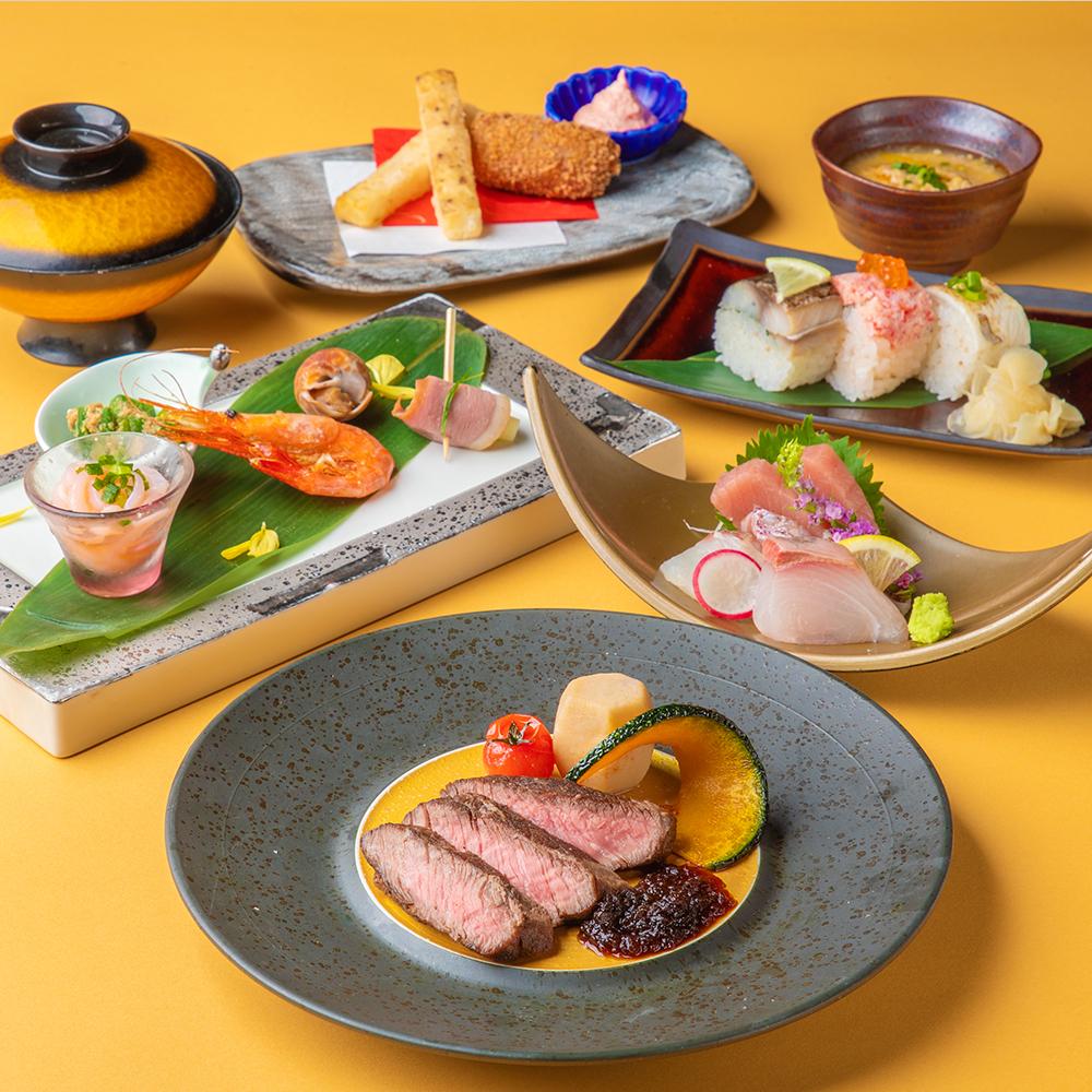 [お料理のみ] 【絢爛】会席 アワビやサーロイン、金目鯛の土鍋めし等9品