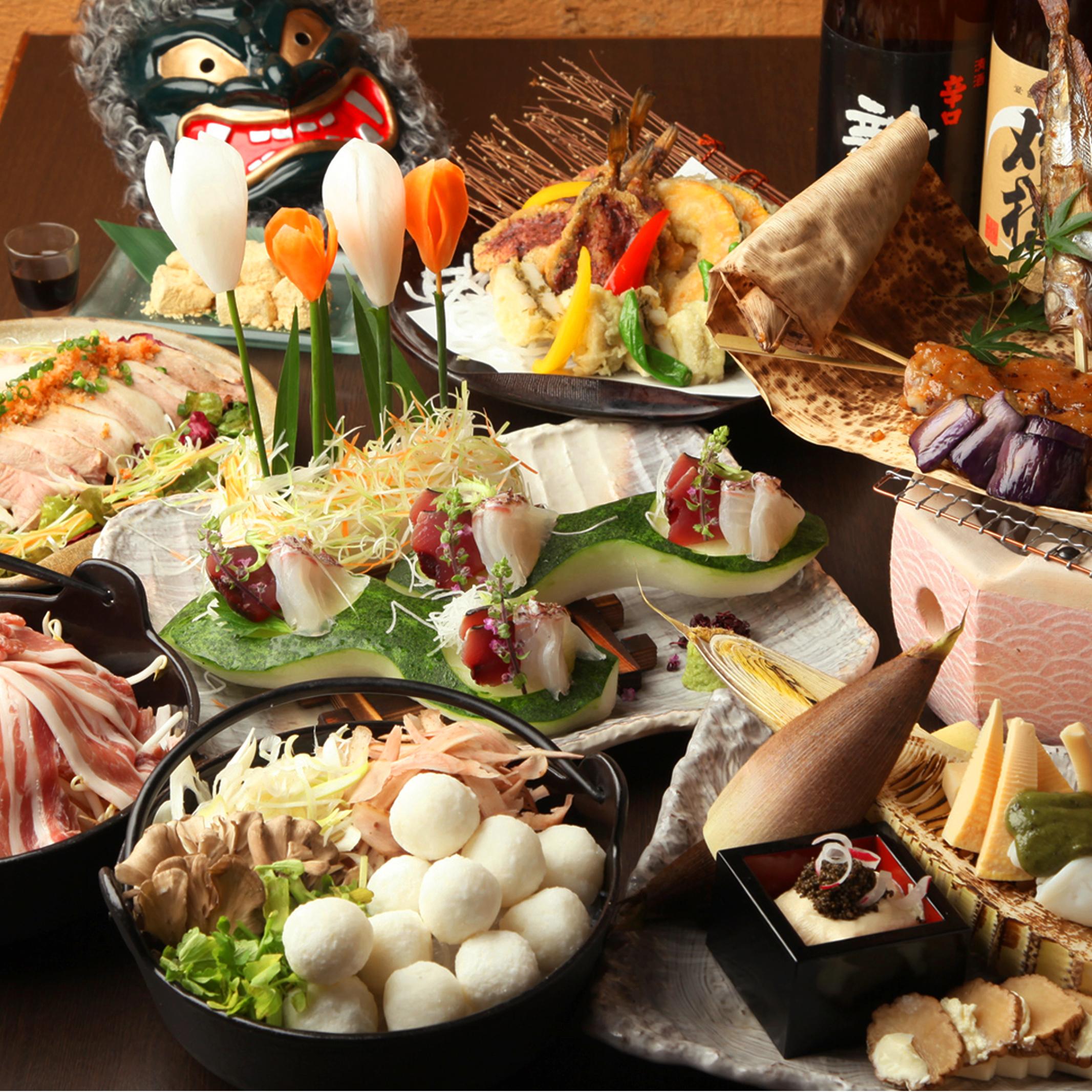 [2時間豪華飲み放題] 1番人気 秋田地酒×名物だまこ鍋×ハタハタ焼き9品