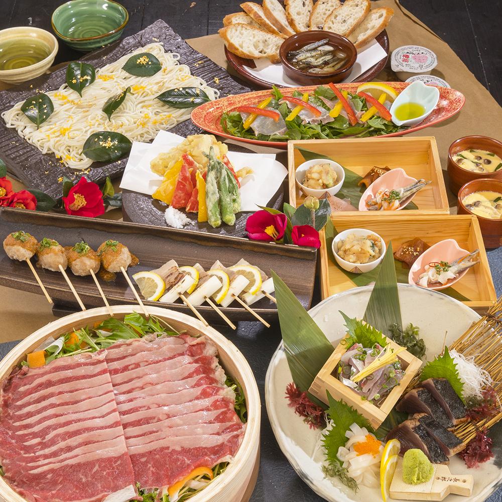 [3時間飲み放題] 鮮魚3点・選べるメイン4500円コース9品
