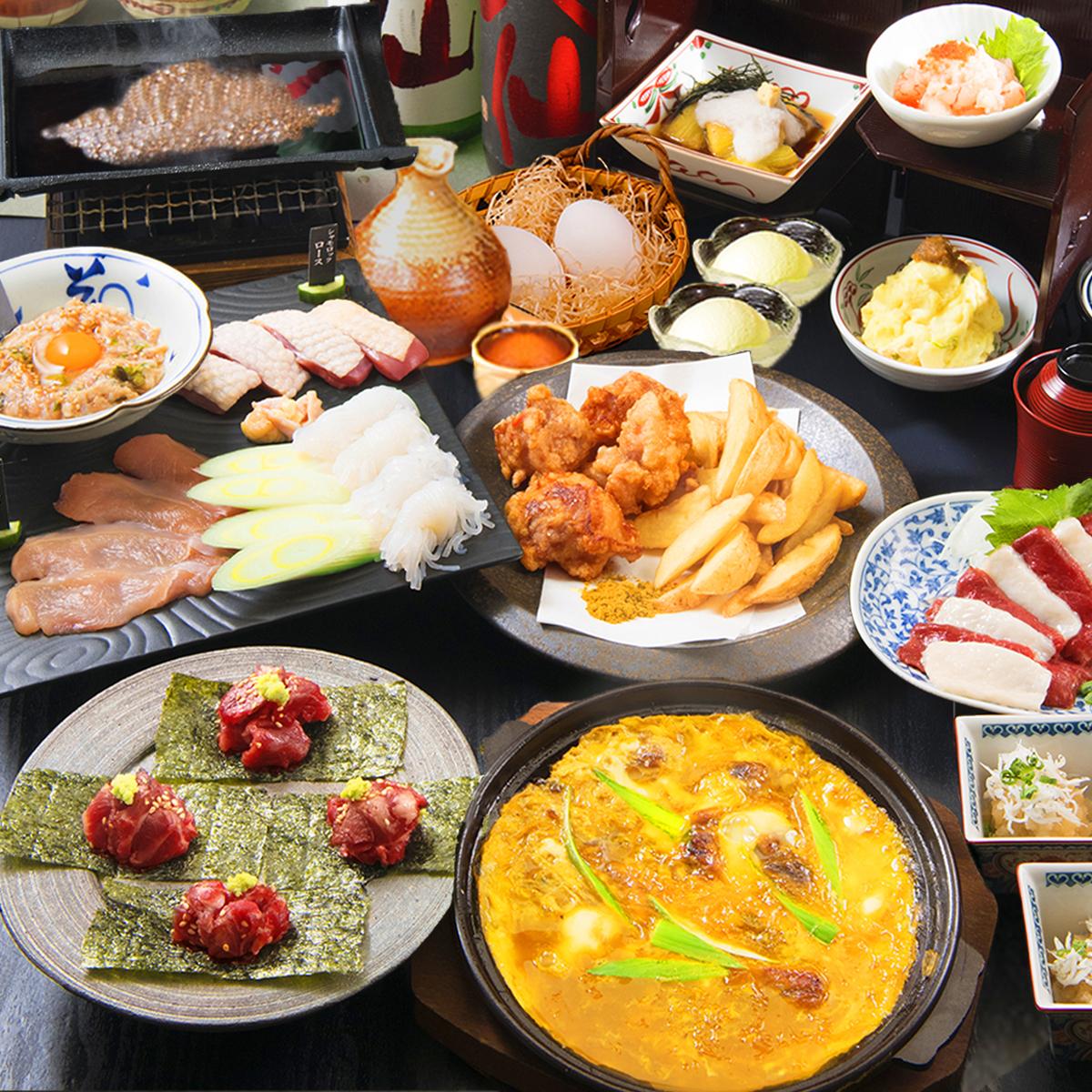 [3時間飲み放題] 夏のおでんOR地鶏すき焼きのコース9品