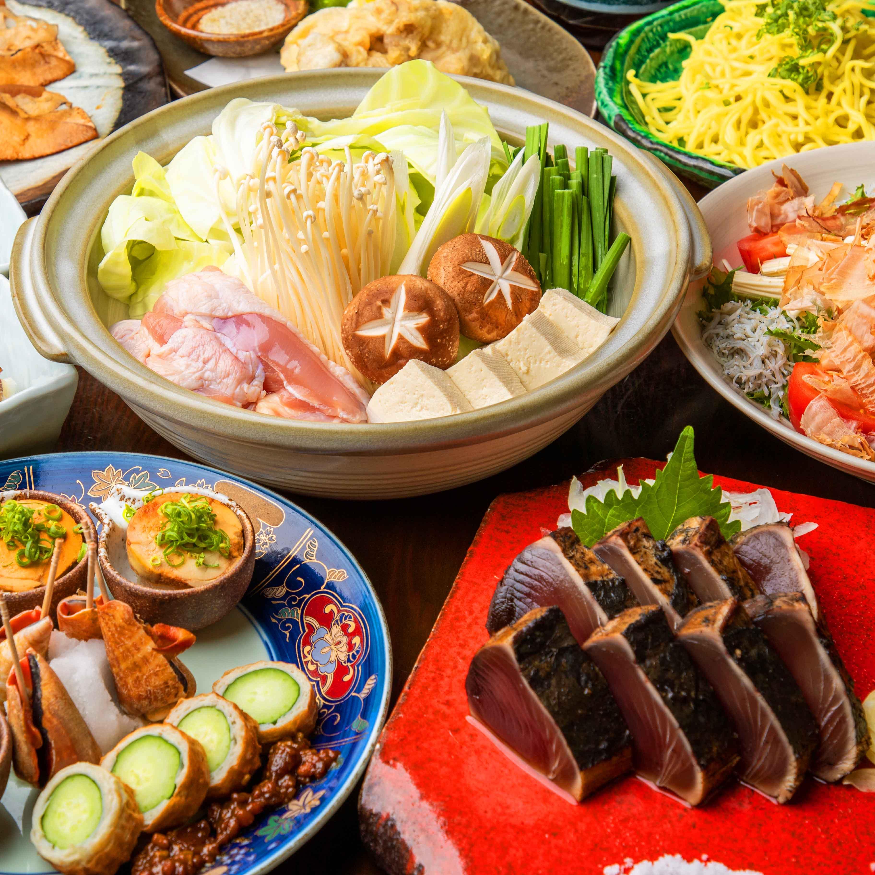 [曜日限定] [2時間飲み放題] かつをと鰻の藁焼きコース11品