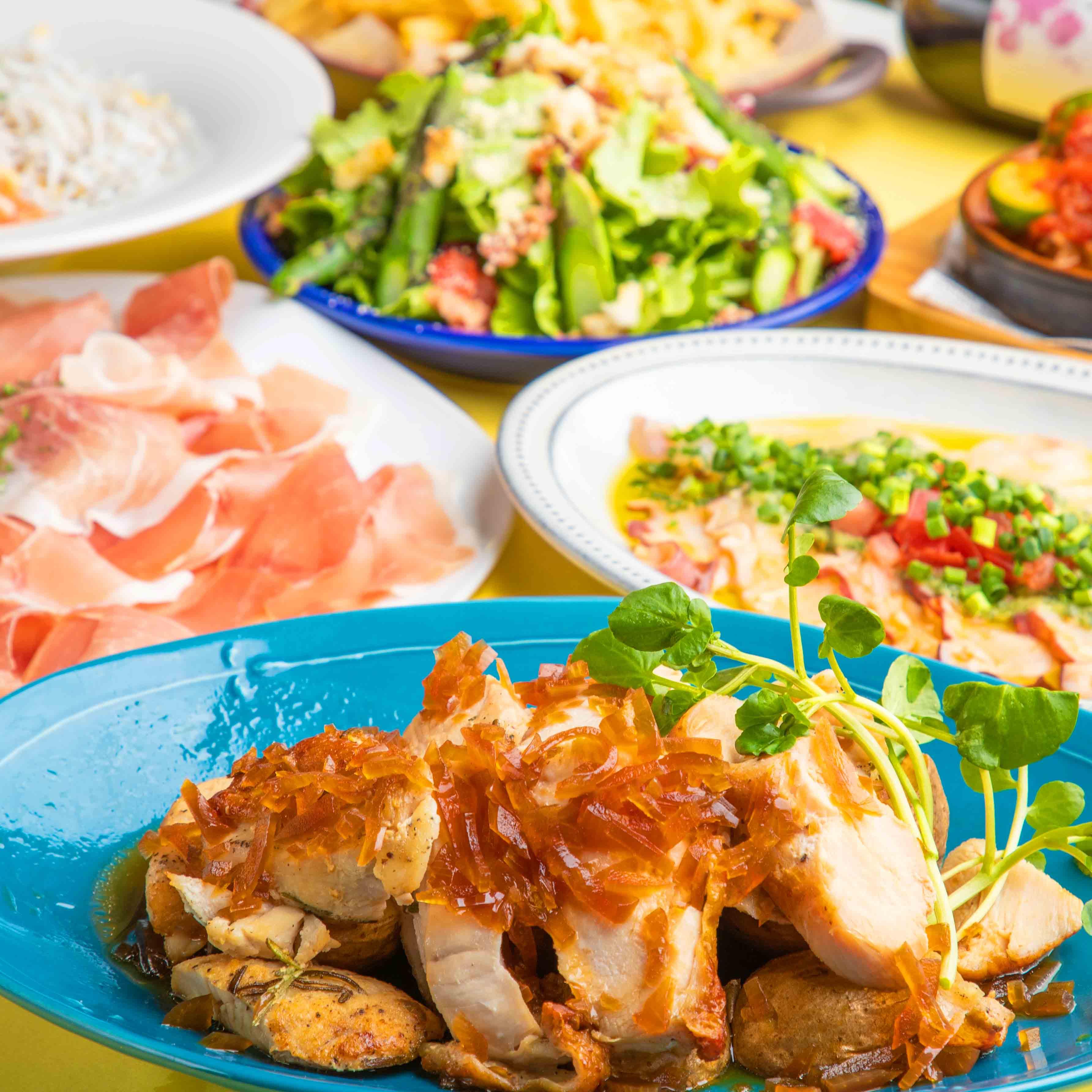 [2時間飲み放題] 国産熟成鶏のハーブグリルコース8品