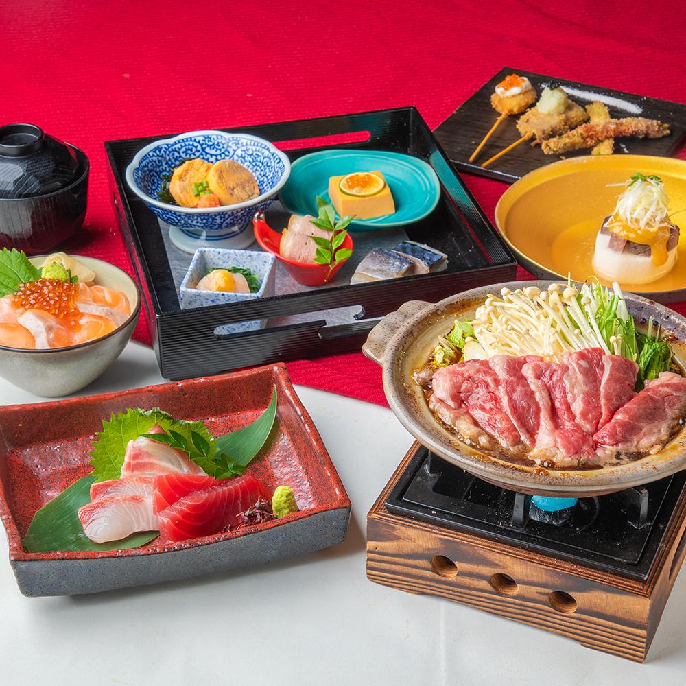 [お料理のみ] 和牛すき焼き、イクラサーモン海鮮丼など会席「空」コース8品