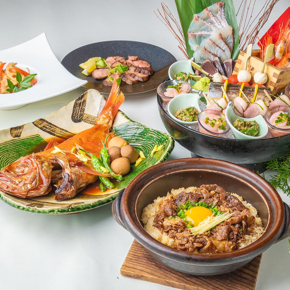 [お料理のみ] 乾杯SP付【米門食事のみ】金目鯛煮付けや、和牛の土鍋飯等8品