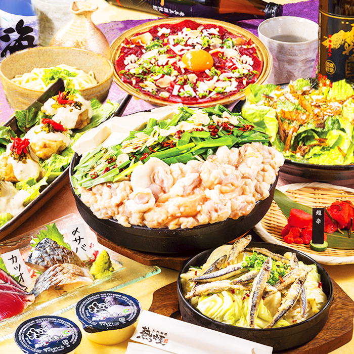 [金・土・祝前限定] [2時間飲み放題] 刺盛・馬・選べる鍋4000コース9品