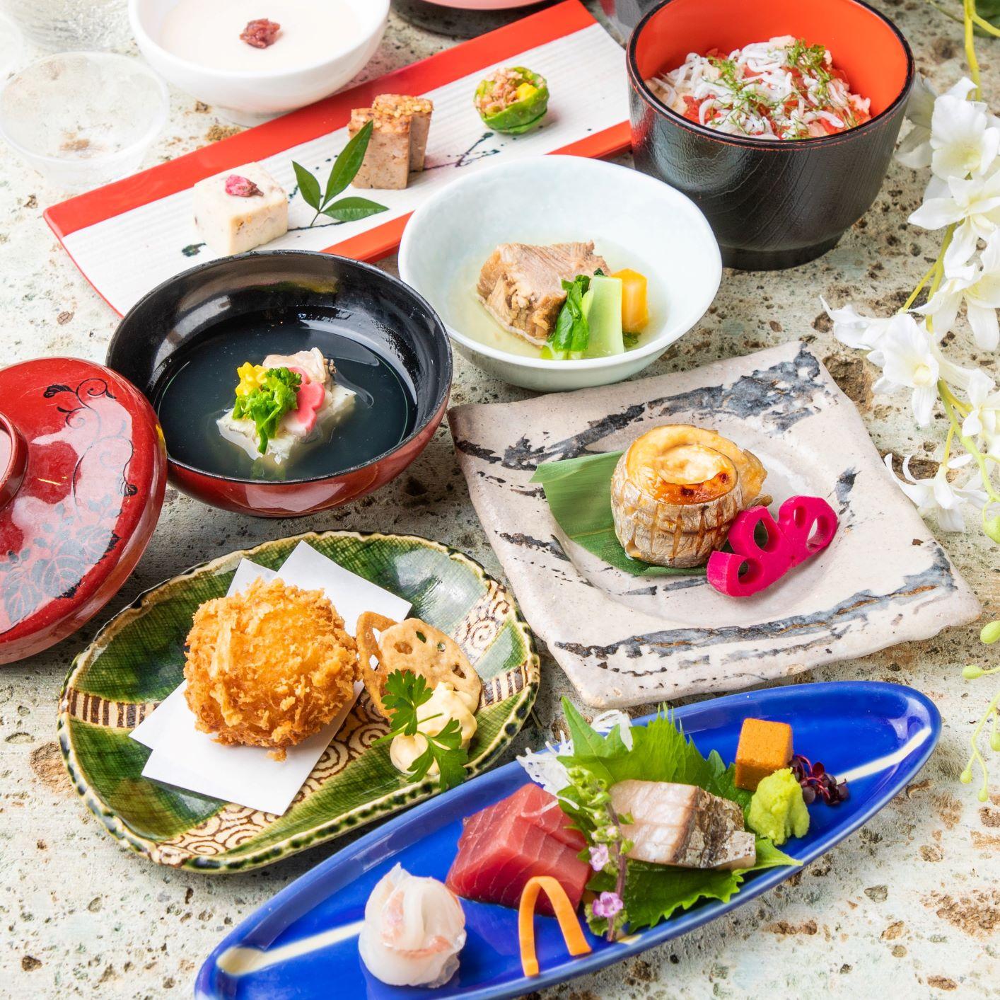 [3時間飲み放題] 氷温熟成豚と旬菜旬魚の特選会席10品