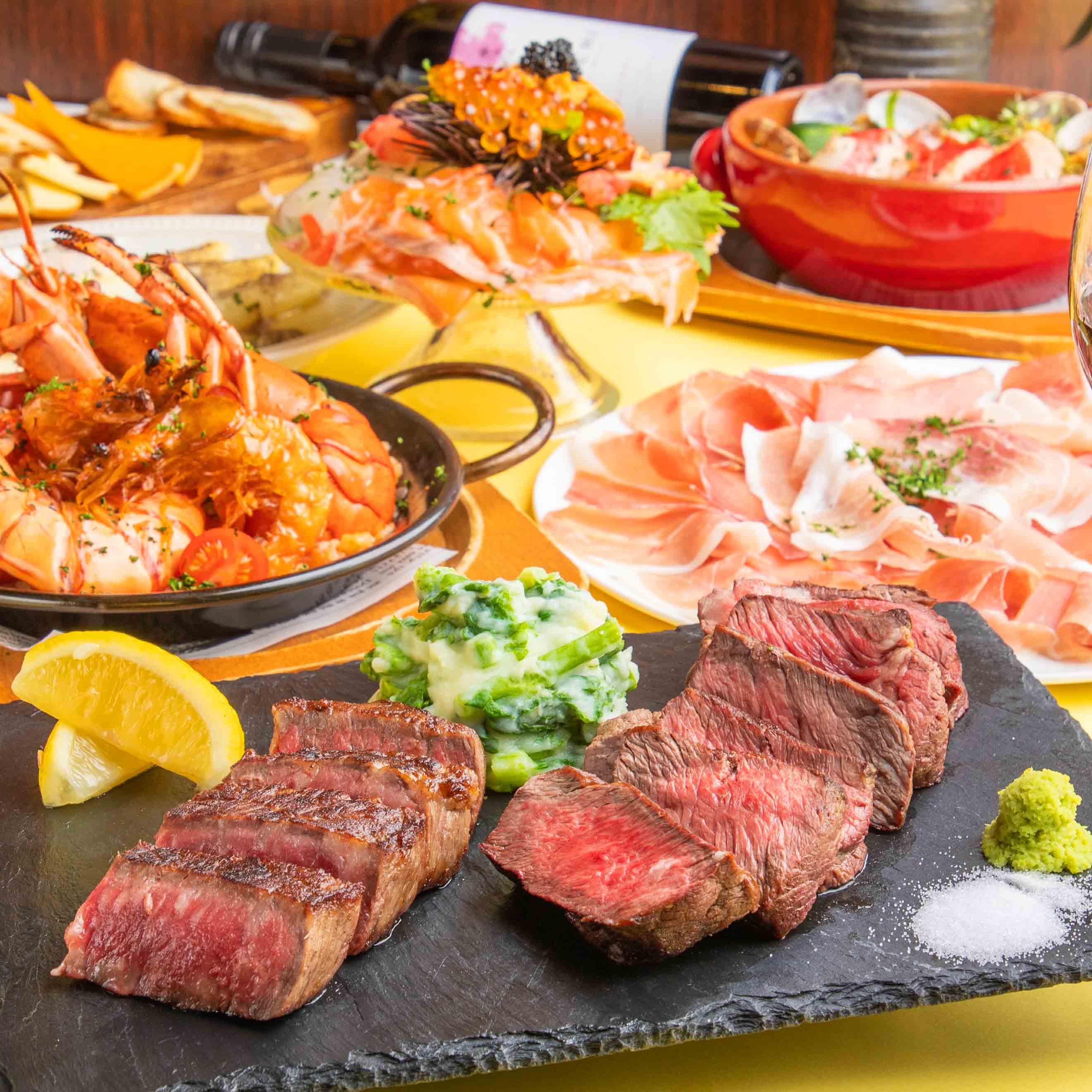 [2時間飲み放題] 和牛食べ比べ&魚介のパエリア9品