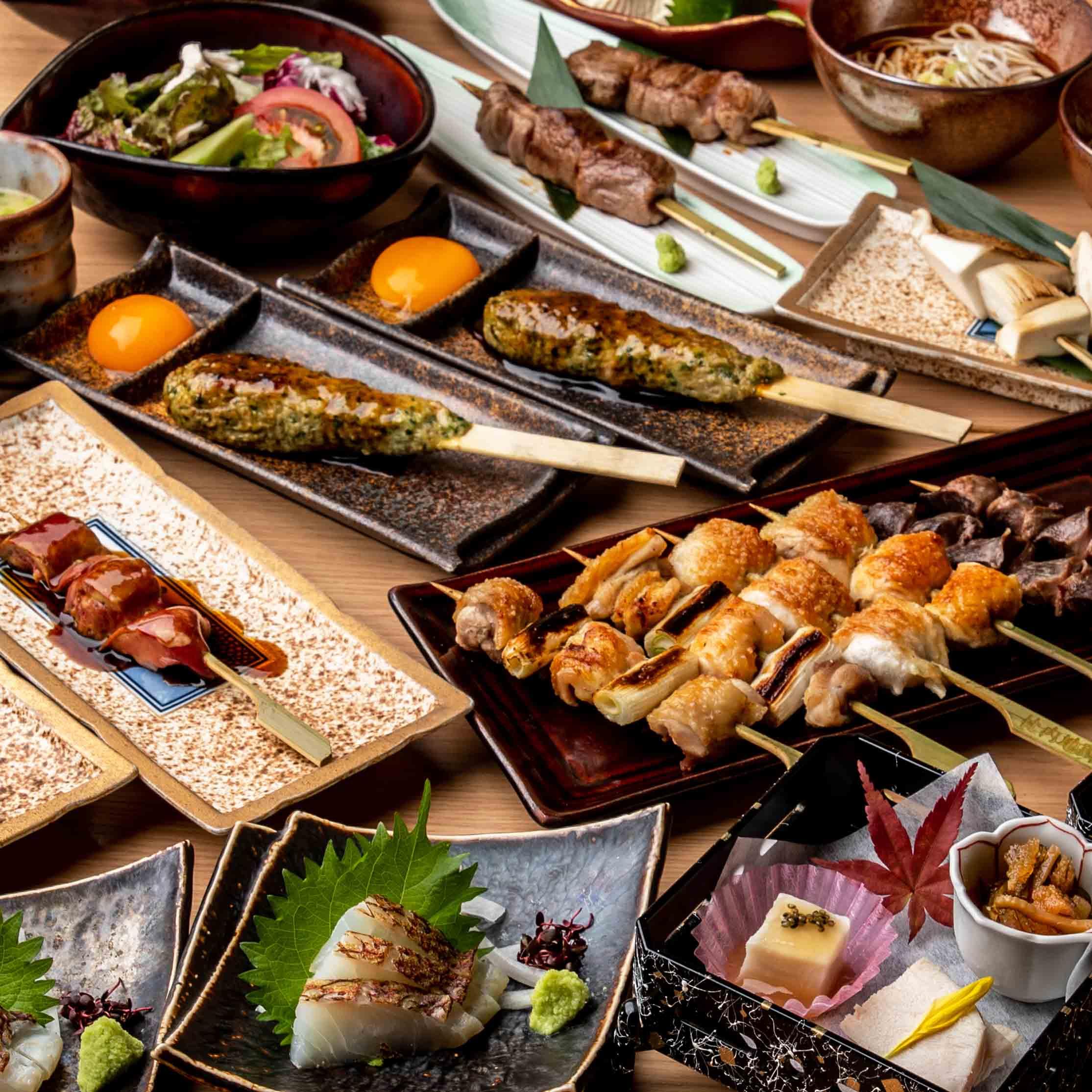 [お料理のみ] ≪お料理のみ≫やきとり『雅』コース~比内地鶏と海の幸~14品
