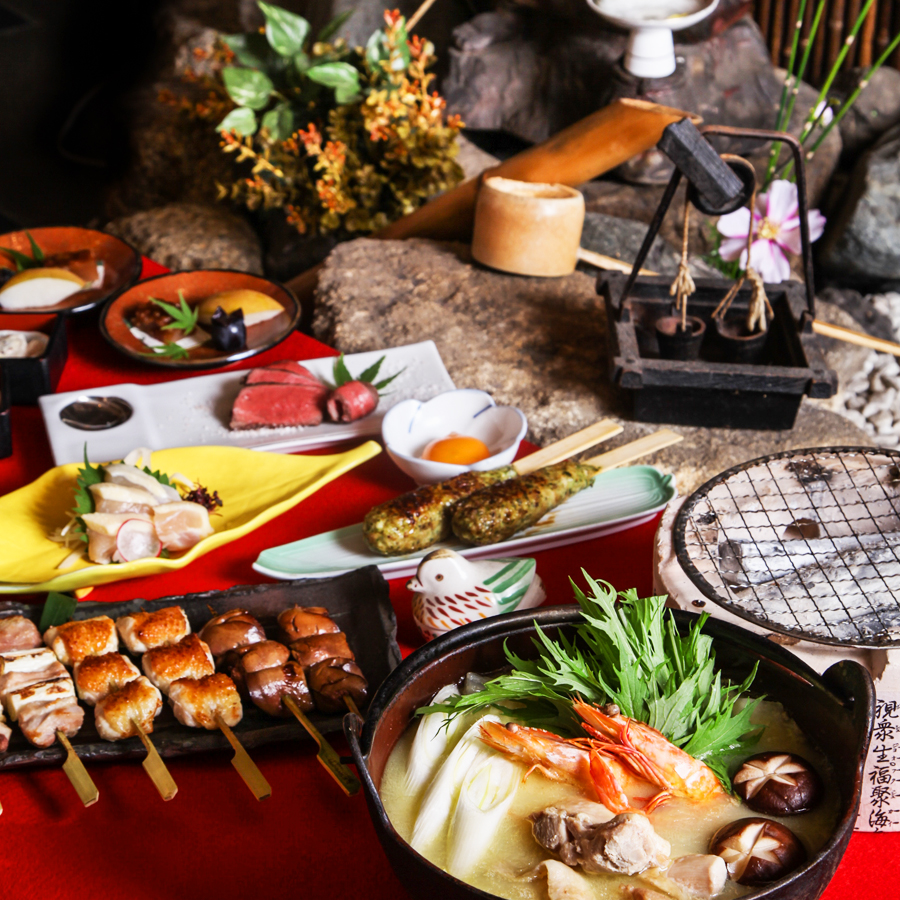 """[お料理のみ] """"至高""""『極上水炊き鍋』と比内地鶏、黒毛和牛の炭火炙りコース12品"""
