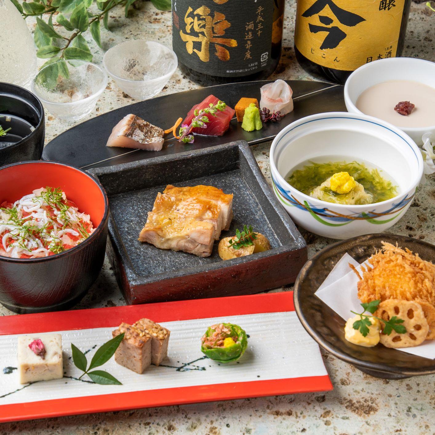 [お料理のみ] つくば鶏と旬魚旬菜の厳選会席8品