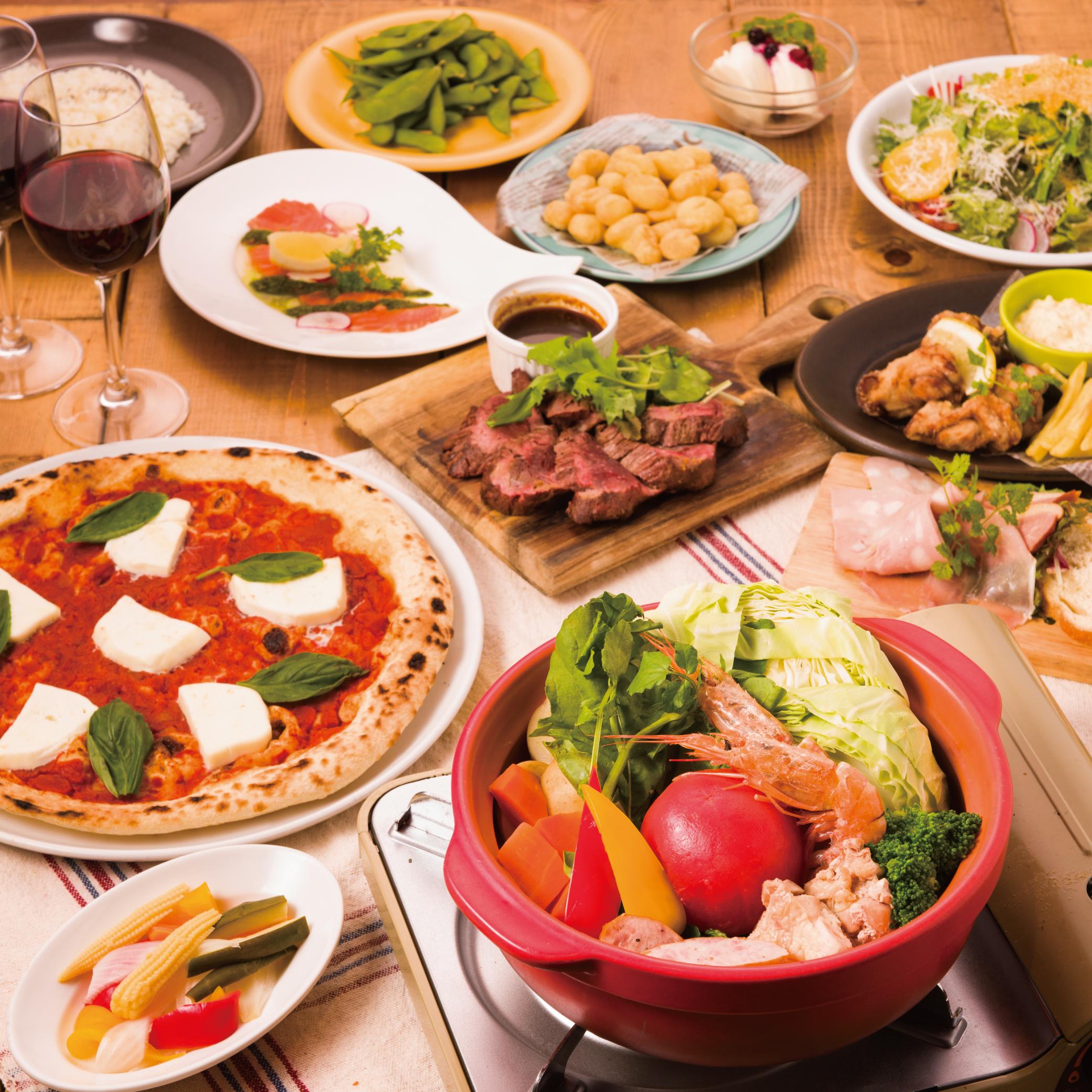 [3時間3時間飲み放題] テラス確約・チーズ鍋&牛ステーキ11品