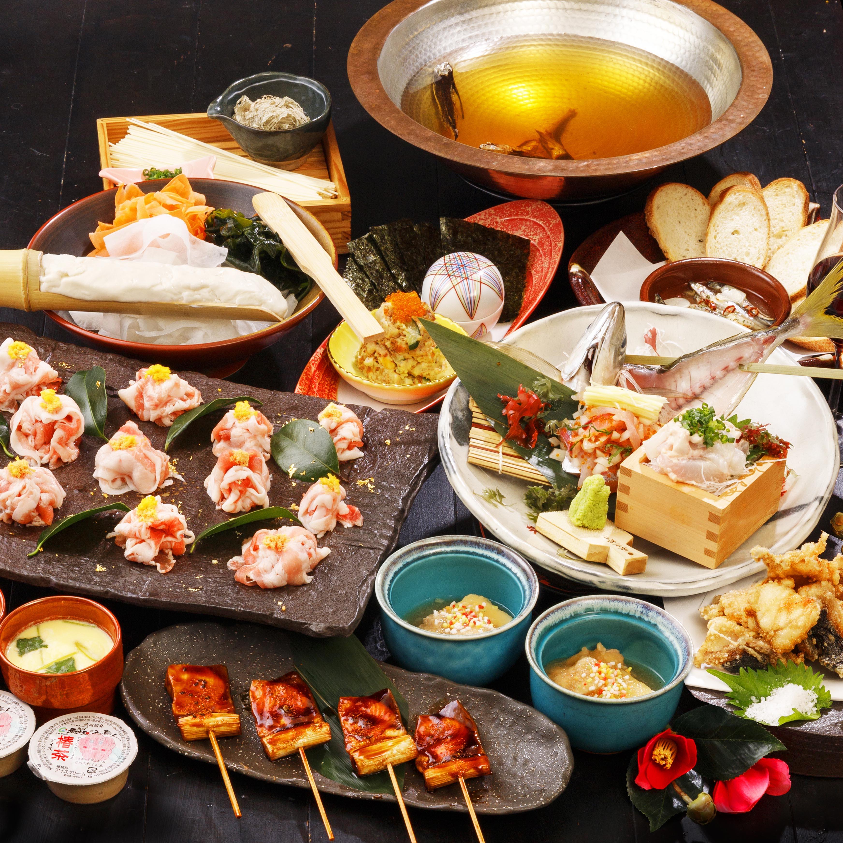 [2.5時間飲み放題] 五島鮮魚と選べるメイン4500円コース10品