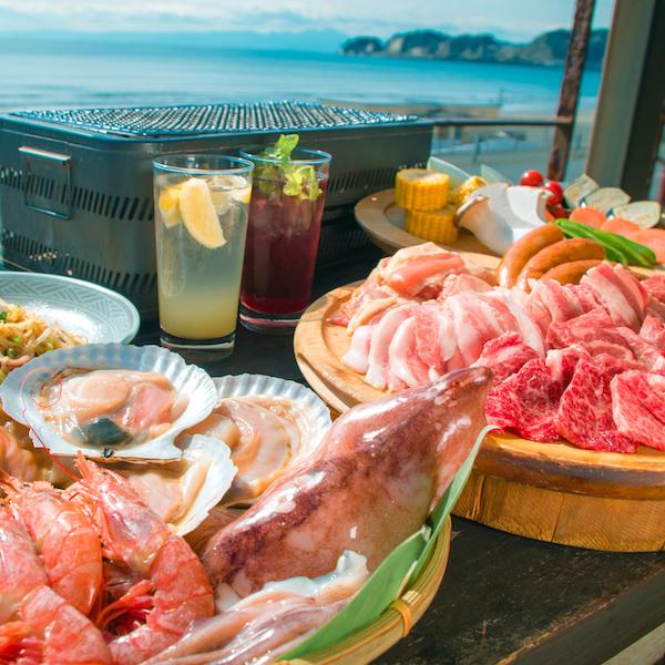 [お料理のみ] 満足!黒毛和牛三角バラ肉と海鮮BBQコース7品