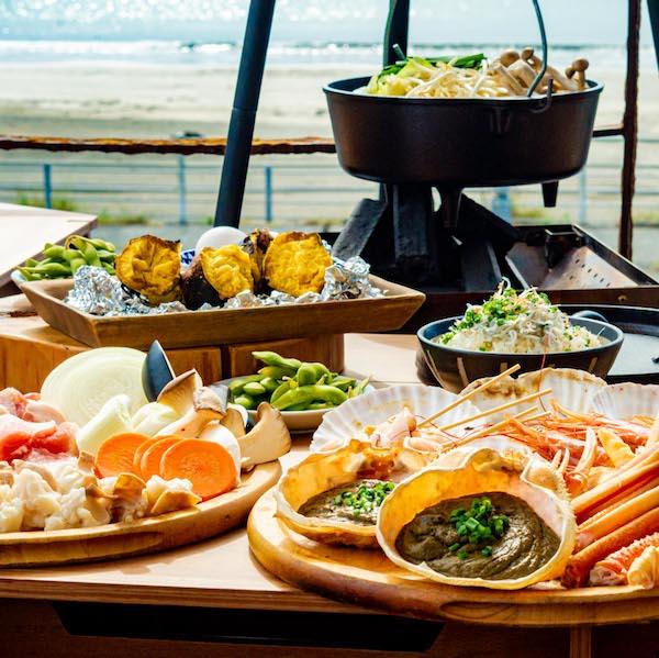 [お料理のみ] 【1組限定】材木座海岸一望できる贅沢BBQ&鍋コース7品