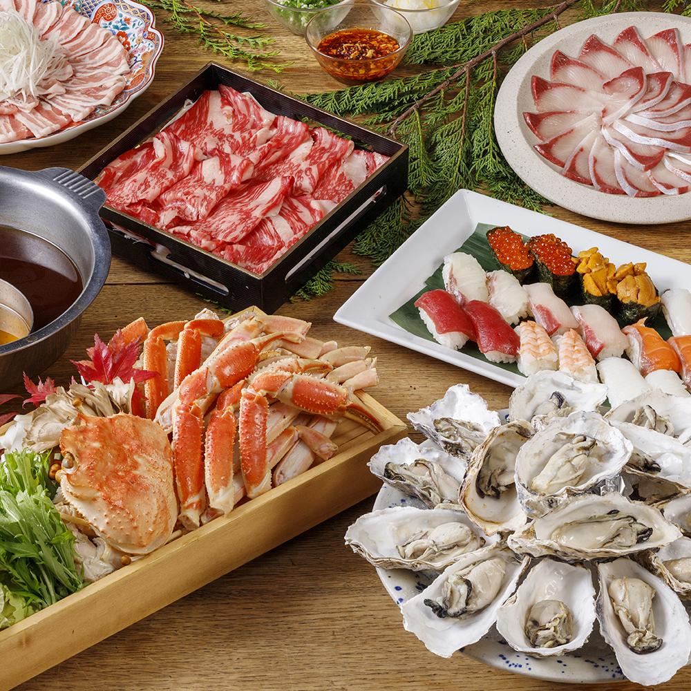 [お料理のみ] 【贅沢の極み】本ずわい蟹と牡蠣のしゃぶしゃぶと寿司15種食べ放題11品
