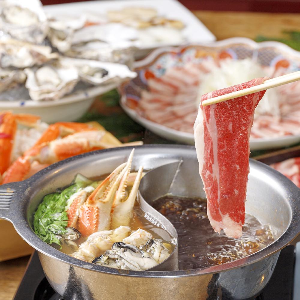 [お料理のみ] 黒毛和牛・国産豚しゃぶしゃぶと寿司15種食べ放題プラン11品