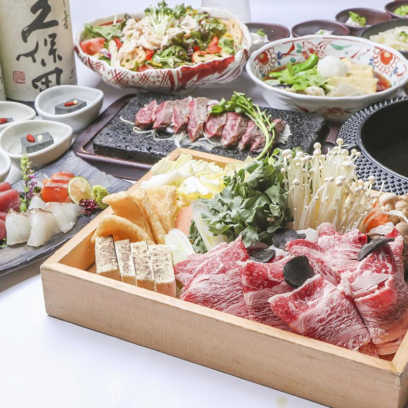 [お料理のみ] 【お料理のみ】極上牛すき又はずわい蟹味噌鍋コース8品