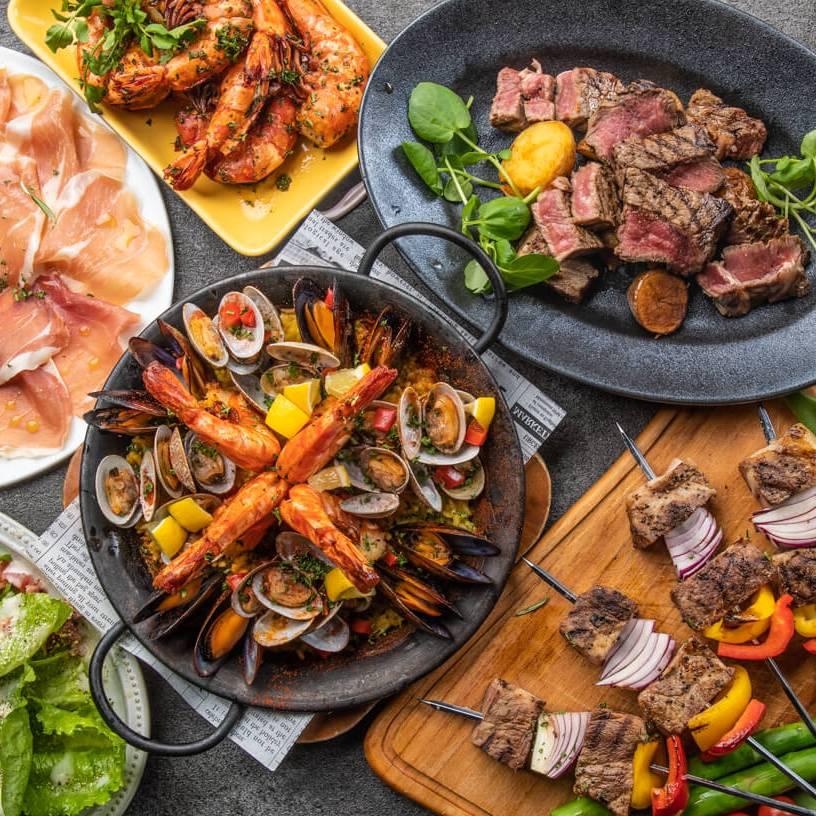 [2時間飲み放題] 魚介パエリア&牛ハラミのステーキ8品