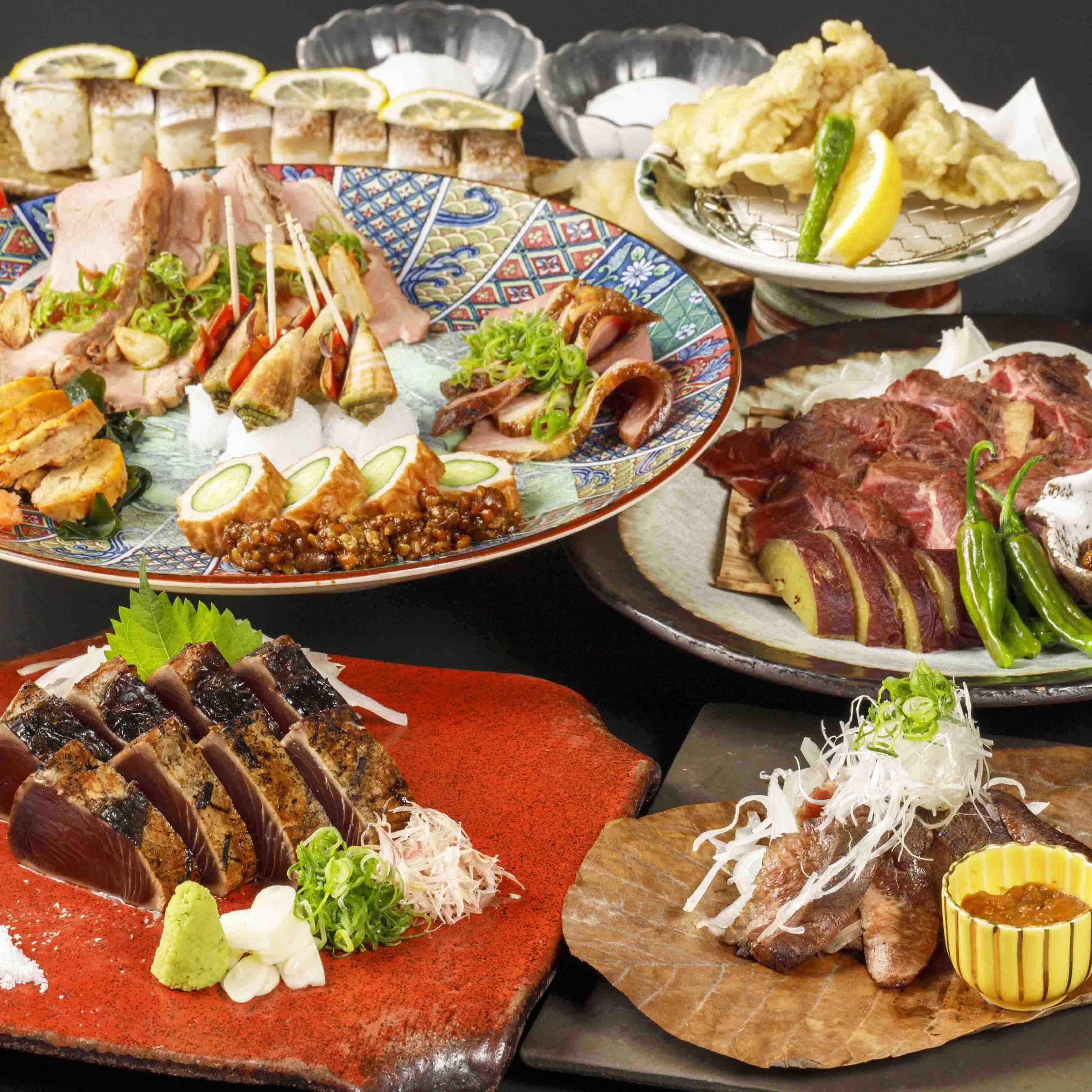 [曜日限定] [2時間飲み放題] 鰹×黒毛和牛の藁焼き よさこいコース12品