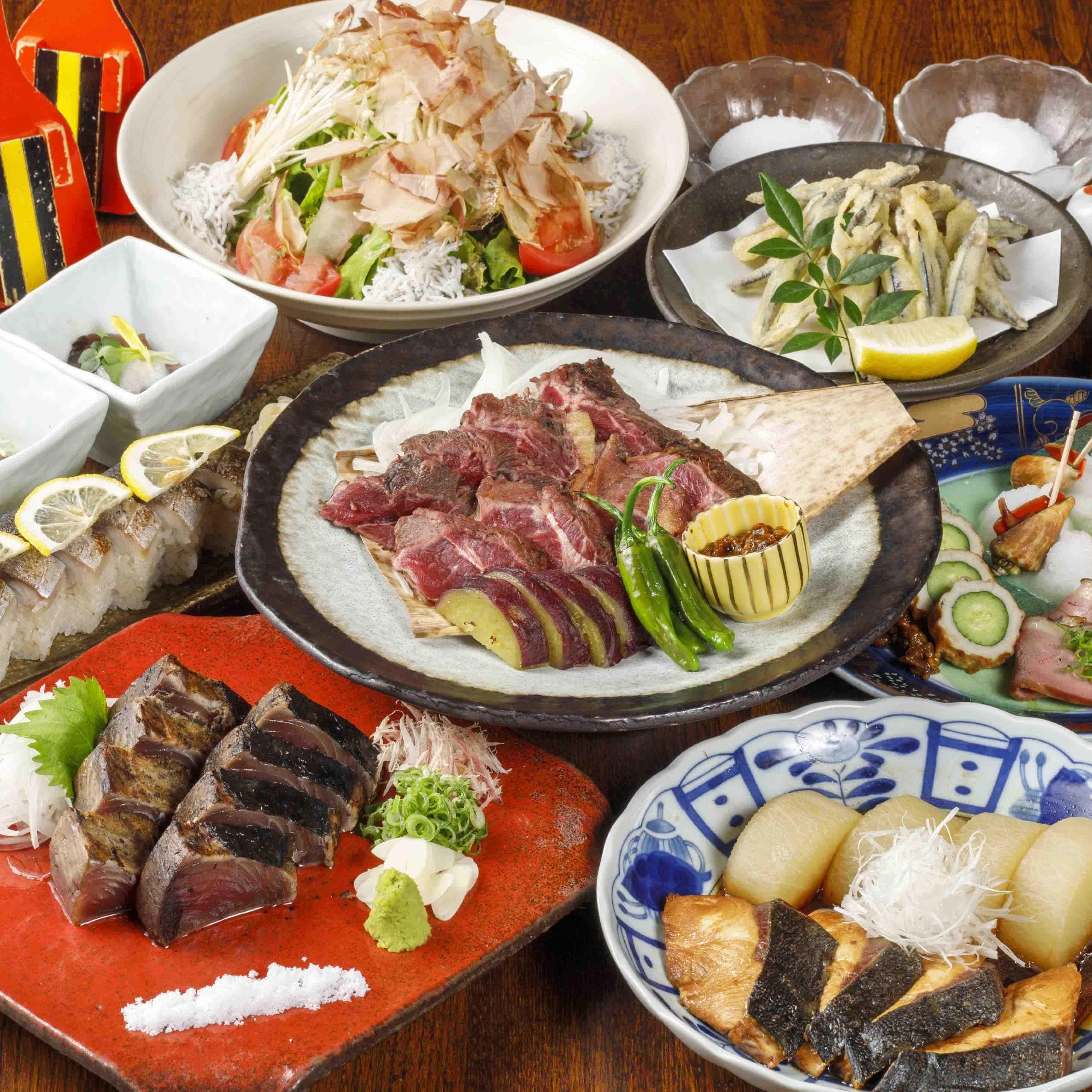 [曜日限定] [2時間飲み放題] 鰹の藁焼き×鰻の土鍋飯 はりまやコース11品