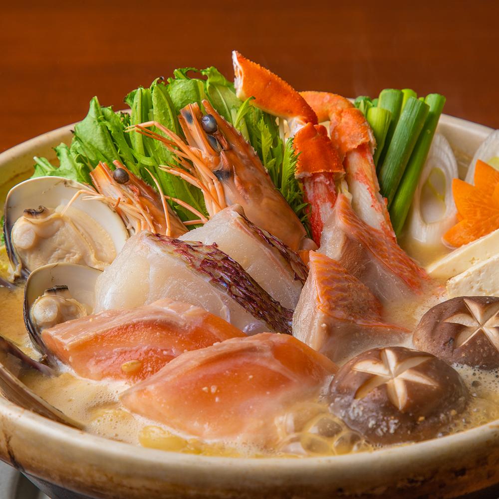 [2時間飲み放題] 【蒼】牛サーロイングリルやあご出汁海鮮鍋等8品