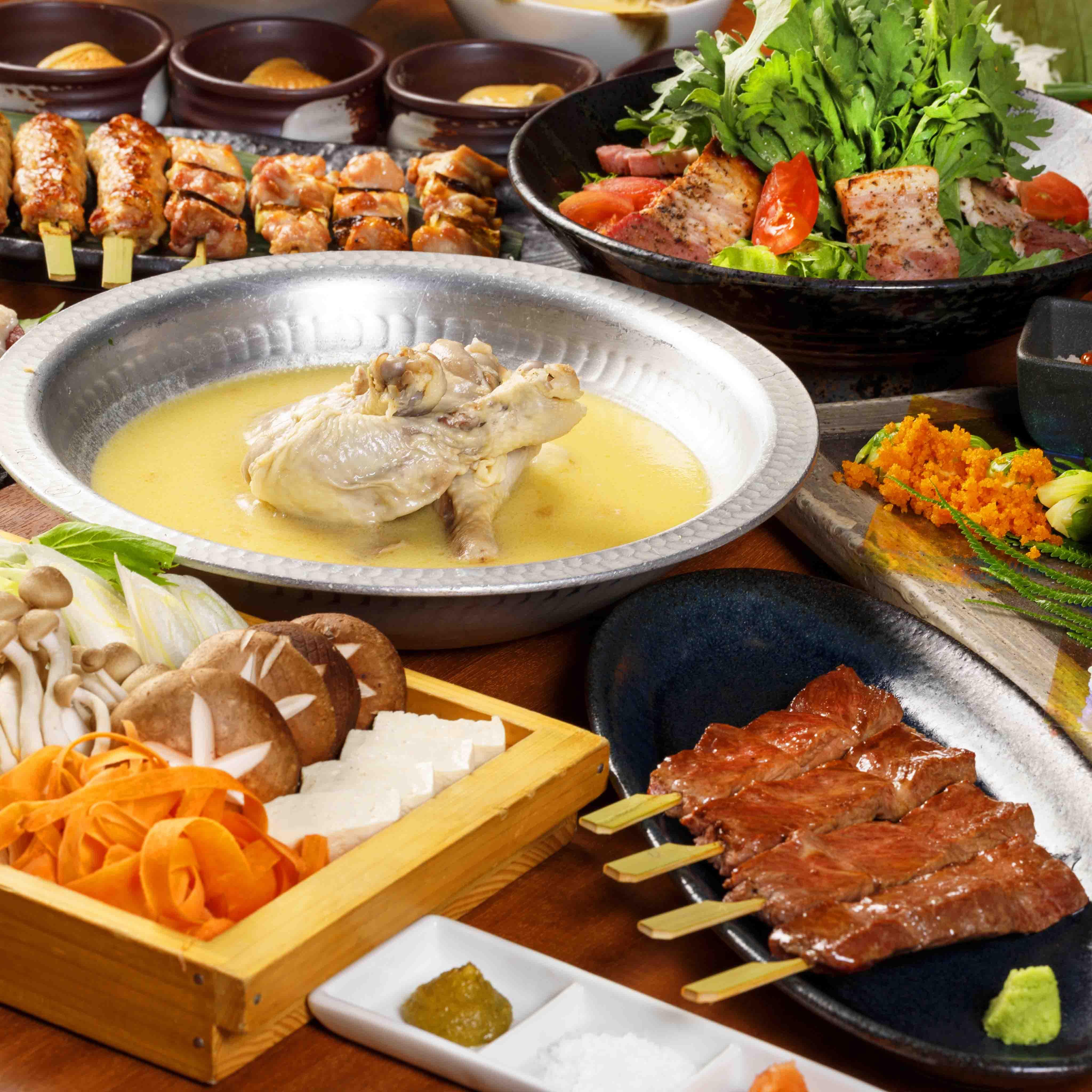 [お料理のみ] 馬刺し×串×名物水炊き鍋コース9品