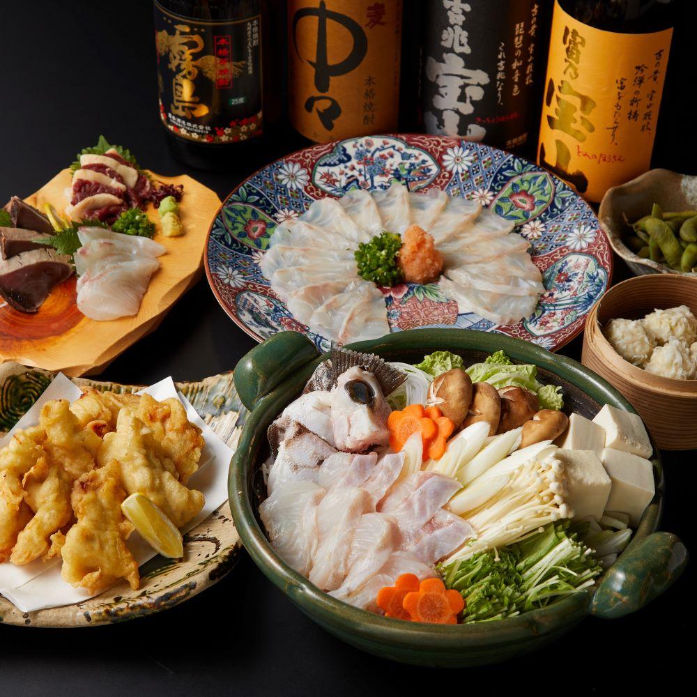 [2時間飲み放題] 贅沢 クエ鍋コース7500円→6500円 7品